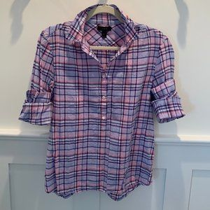 J. Crew Tops - J.CREW Plaid Blue and Pink Button Down Shirt